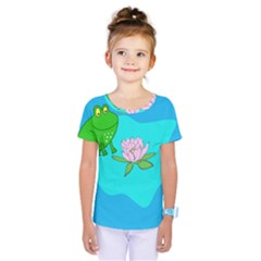 Frog Flower Lilypad Lily Pad Water Kids  One Piece Tee by BangZart