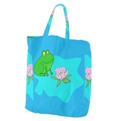Frog Flower Lilypad Lily Pad Water Giant Grocery Zipper Tote