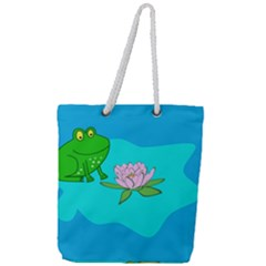 Frog Flower Lilypad Lily Pad Water Full Print Rope Handle Tote (large)