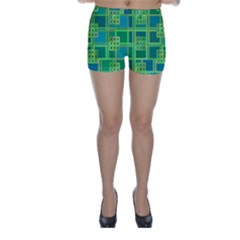Green Abstract Geometric Skinny Shorts