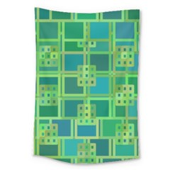 Green Abstract Geometric Large Tapestry by BangZart