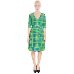 Green Abstract Geometric Wrap Up Cocktail Dress