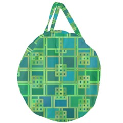 Green Abstract Geometric Giant Round Zipper Tote