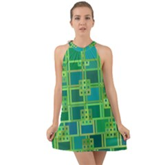Green Abstract Geometric Halter Tie Back Chiffon Dress