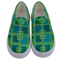 Green Abstract Geometric Kids  Canvas Slip Ons