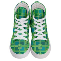 Green Abstract Geometric Men s Hi Top Skate Sneakers