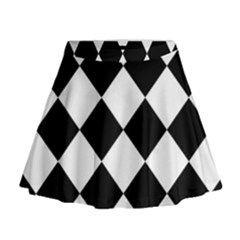 Grid Domino Bank And Black Mini Flare Skirt