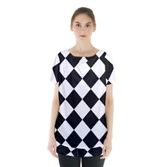 Grid Domino Bank And Black Skirt Hem Sports Top