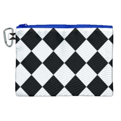 Grid Domino Bank And Black Canvas Cosmetic Bag (xl)