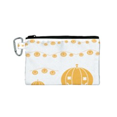 Pumpkin Halloween Deco Garland Canvas Cosmetic Bag (small)