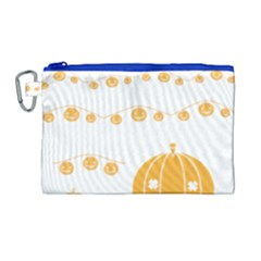 Pumpkin Halloween Deco Garland Canvas Cosmetic Bag (large)
