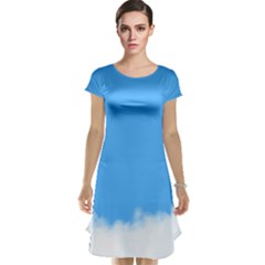 Sky Blue Blue Sky Clouds Day Cap Sleeve Nightdress by BangZart