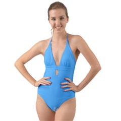 Sky Blue Blue Sky Clouds Day Halter Cut Out One Piece Swimsuit