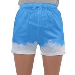 Sky Blue Blue Sky Clouds Day Sleepwear Shorts