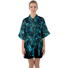 Blue Splash Quarter Sleeve Kimono Robe by berwies