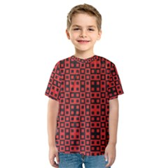 Abstract Background Red Black Kids  Sport Mesh Tee