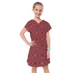 Abstract Background Red Black Kids  Drop Waist Dress