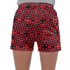 Abstract Background Red Black Sleepwear Shorts