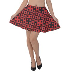 Abstract Background Red Black Velvet Skater Skirt