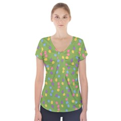 Balloon Grass Party Green Purple Short Sleeve Front Detail Top