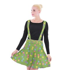 Balloon Grass Party Green Purple Suspender Skater Skirt