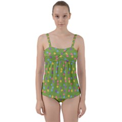 Balloon Grass Party Green Purple Twist Front Tankini Set