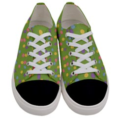 Balloon Grass Party Green Purple Women s Low Top Canvas Sneakers