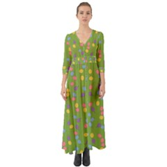 Balloon Grass Party Green Purple Button Up Boho Maxi Dress