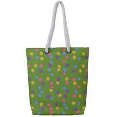 Balloon Grass Party Green Purple Full Print Rope Handle Tote (small)