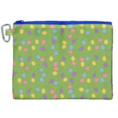 Balloon Grass Party Green Purple Canvas Cosmetic Bag (xxl)