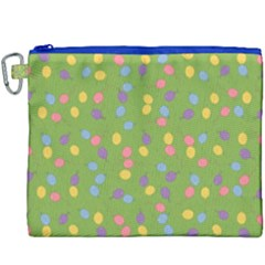 Balloon Grass Party Green Purple Canvas Cosmetic Bag (xxxl)