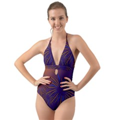 Sylvester New Year S Day Year Party Halter Cut Out One Piece Swimsuit