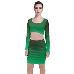 Course Colorful Pattern Abstract Long Sleeve Crop Top & Bodycon Skirt Set