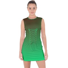 Course Colorful Pattern Abstract Lace Up Front Bodycon Dress