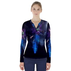 Magical Fantasy Wild Darkness Mist V Neck Long Sleeve Top
