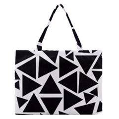 Template Black Triangle Zipper Medium Tote Bag