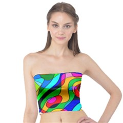 Digital Multicolor Colorful Curves Tube Top by BangZart