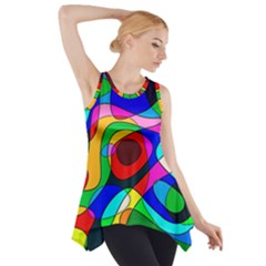 Digital Multicolor Colorful Curves Side Drop Tank Tunic
