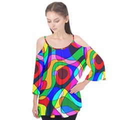 Digital Multicolor Colorful Curves Flutter Tees