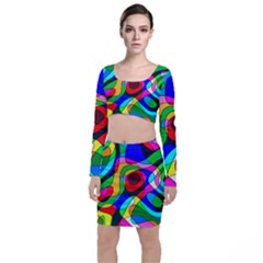Digital Multicolor Colorful Curves Long Sleeve Crop Top & Bodycon Skirt Set