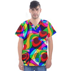 Digital Multicolor Colorful Curves Men s V Neck Scrub Top