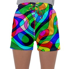 Digital Multicolor Colorful Curves Sleepwear Shorts