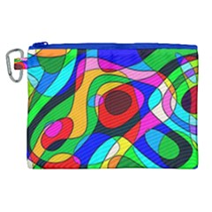 Digital Multicolor Colorful Curves Canvas Cosmetic Bag (xl)
