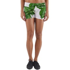 Plant Berry Leaves Green Flower Yoga Shorts
