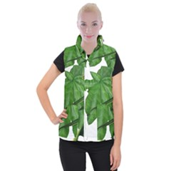 Plant Berry Leaves Green Flower Women s Button Up Puffer Vest