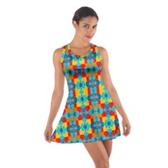 Pop Art Abstract Design Pattern Cotton Racerback Dress