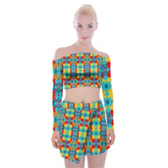 Pop Art Abstract Design Pattern Off Shoulder Top With Mini Skirt Set