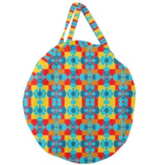 Pop Art Abstract Design Pattern Giant Round Zipper Tote