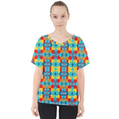 Pop Art Abstract Design Pattern V-neck Dolman Drape Top