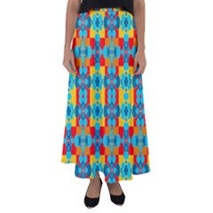 Pop Art Abstract Design Pattern Flared Maxi Skirt